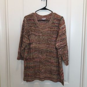 Westport Multi Color Sweater Size 1X 3/4 Sleeves
